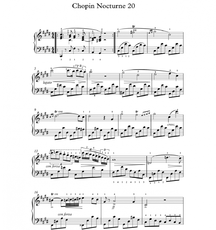 Nocturne n 20 chopin partition piano
